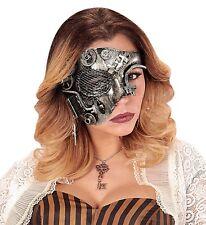 Steampunk Demi Halbmaske silber NEU - Karneval Fasching Maske Gesicht