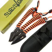 Fixed Blade Knife | Black Orange Hunting Set of 3 Tactical Survival Hk-788