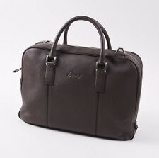NWT $3675 BRIONI Chocolate Brown Soft Grained Leather Briefcase Bag