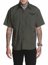 ROCK STEADY WINGED SKULL RIDER SHIRT ROCKABILLY LOUNGE OLIVE COLOR Sz Large NWT