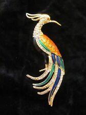 Gorgeous Large Bird of Paradise Brooch Pin Enamel & Rhinestone