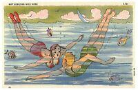 Vintage CT Seashore Comics Art Met Someone Nice Here Postcard 6A-H1686