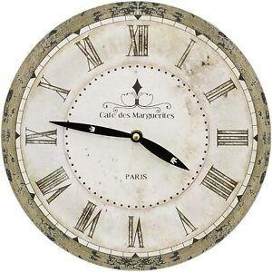 French 28cm Antique Style Round Wall Clock Cafe De Marguerites Paris Shabby Chic