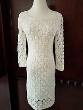 CATHERINE MALANDRINO WHITE CROCHET  STRETCH KNIT DRESS SIZE SMALL BEAUTIFUL $495