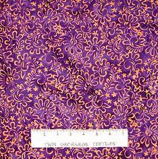 Bali Batik Fabric - Sapphire Vines on Purple - Princess Mirah Quilt Cotton YARD