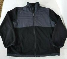 Snozu Platinum Collection Full Zip Hybrid Fleece Jacket Pockets Logo Men L Black