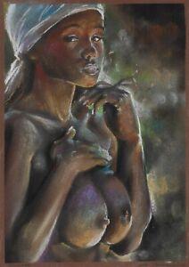 original drawing A4 232BoK art samovar Pastel modern female nude Signed 2021