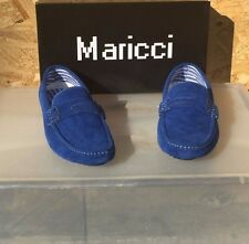 Blue Suede Moc Toe Driver Slip-On  Men Shoes Maricci New With Box #JT8008