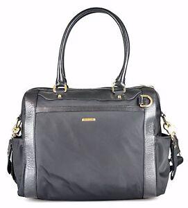 Women's REBECCA MINKOFF 'Knocked Up' Black Nylon Leather Diaper Bag