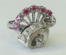 Vintage 14k white gold 1.12Ct natural old cut diamond & ruby cluster ring size 6