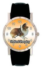Shetland Sheepdog Sheltie Men Women Genuine Leather Quartz Wrist Watch SA1134