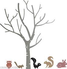Cheery Lynn Designs Die ~ Birch Tree With Cute Critters ~Animals ~ B370 ~ New In
