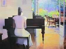 "CHRISTIAN LANDIER ""PIANO ROOM"" Hand Signed Limited Edition Giclee Art on Canvas"