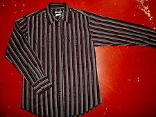 WRANGLER PEARL SNAP WESTERN SHIRT Black Silver Red Stripe Long Sleeve Medium
