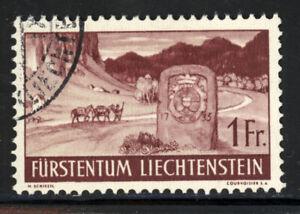 LIECHTENSTEIN SCOTT #148 1937 FRONTIER STONE ISSUE USED VF CAT $17