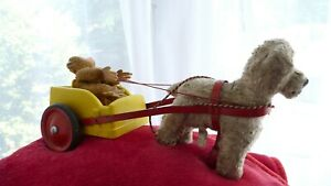 Vintage 1950s Chiltern Dog pulling cart with Monkey Passenger needs some repair