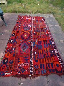 "Large Aztec Wool Rug-Reds/Orange/Blue-3ft 6"" x 8ft (107 cm x 244 cm)"
