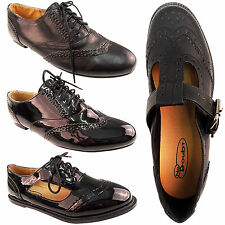 NEW GIRLS LADIES FLAT OXFORD BROGUE SHOES RETRO SCHOOL OFFICE GEEK CUT OUT