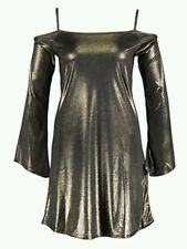 BNWT* QED LONDON * SIZE 12 GOLD METALLIC COLD SHOULDER PARTY DRESS, NEW