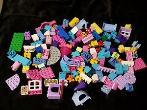 Lot 121 pc Lego Duplo Lot blocks bricks pinks purples house girl theme princess