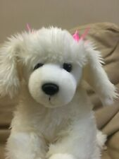 toys r us animal alley 12� white poodle with pink bows dog plush stuffed animal