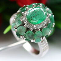 NATURAL GREEN EMERALD & WHITE CZ RING 925 STERLING SILVER
