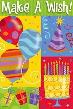 "BIRTHDAY ""MAKE A WISH"" Balloons Celebrate Party 2 Sided 12.5 x 18 Garden Flag"