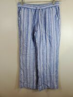 Tommy Bahama Size Small Women's Pants Linen Blue White Striped Drawstring Waist