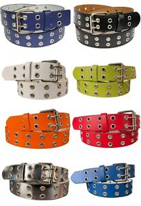 "Smooth Grain Two Hole Double Prong Buckle Durable Leather Belt 1.5"" Width COLORS"