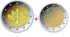 2 x 2 Euro LETTLAND 2020 Latgales Keramika + 2021 Latvija De Iure 100 UNZ
