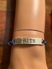 "Ettika ""FAITH"" Blue Handmade Charm Boho Hippie Friendship Faux Leather Bracelet"