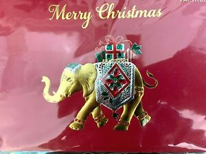 Dramatic Papyrus Christmas Card - Gold Embossed Elephant with Gems & Gifts
