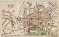 HEREFORD. Vintage town city map plan. Herefordshire 1950 old vintage chart