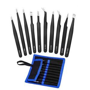 Precision Tweezers Set - 10 PCS ESD  Anti-Static Stainless Steel Tweezers Kit