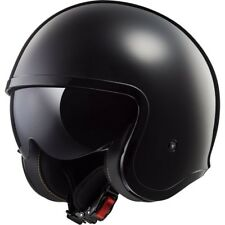 LS2 casque jet moto scooter vintage OF599 SPITFIRE SOLID noir brillant