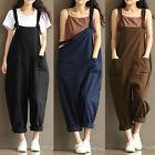 New Trendy Women Loose Linen Pants Cotton Jumpsuit Strap Harem Trousers Overalls