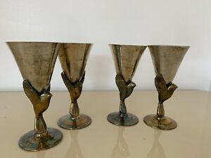 """4 Vintage Godinger Wine Goblets Brass Bird India Heavy Silver Plated 5"""" Tall"""