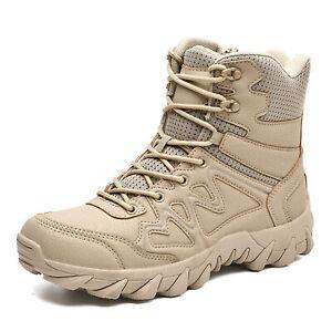 Men's Tactical Lightweight Desert Boots- Non-slip Leather Work Hiking Boots