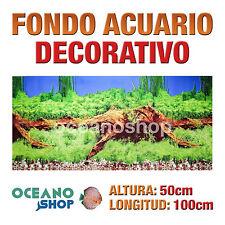 FONDO 100x50cm ACUARIO DECORATIVO VINILO PLANTAS Y TRONCO CALIDAD D424