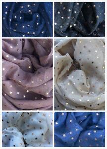 New Women's Scarves Ladies glitter Scarf  Metallic foil Print Star Print Shawl