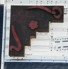 Rare ORNAMENT letterpress wooden printing block very rare Art Nouveau Jugendstil