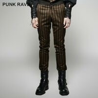 Punk Rave Gothic strip rock gothic men pants Vintage clothing steampunk trousers
