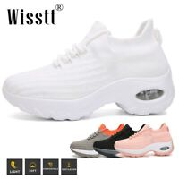 Women's Sport Air Cushion Sneakers Breathable Mesh Walking Wedge Running Shoes