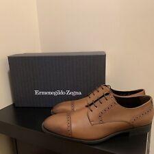 Ermenegildo Zegna Burnished Cap-Toe Calfskin Derby Dress Shoes (Size: US 9.5)
