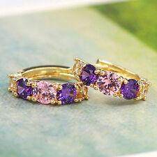 Women's Beauteous 9K Gold Plated Purple Zircon Crystal Eardrop Huggie Earrings