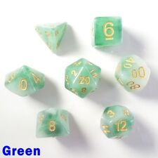 Jade Poly 7 Dice RPG Set Green Pathfinder 5e Dungeons Dragons D&D Role Play HD