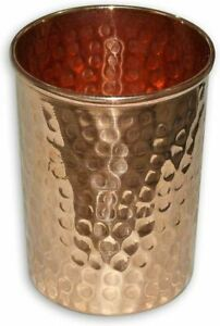 Pure Copper Hammered Tumbler for Healing Ayurvedic Product -4 Set, Height 9.5 cm