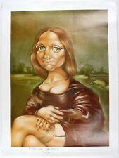 Pop Art Mona Lisa Style Portrait Illustration Signed Inscribed PEC Art Poster