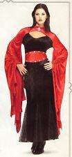 "Gothic Sorceress Ladies 2 Pc Red & Black Velour ""Mermaid"" Style Dress & Belt Md"