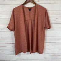 Torrid Open Front Short Dolman Sleeve Cardigan Sweater Sz 00 M/L Orange Rust